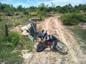 Overturned bike during distribution